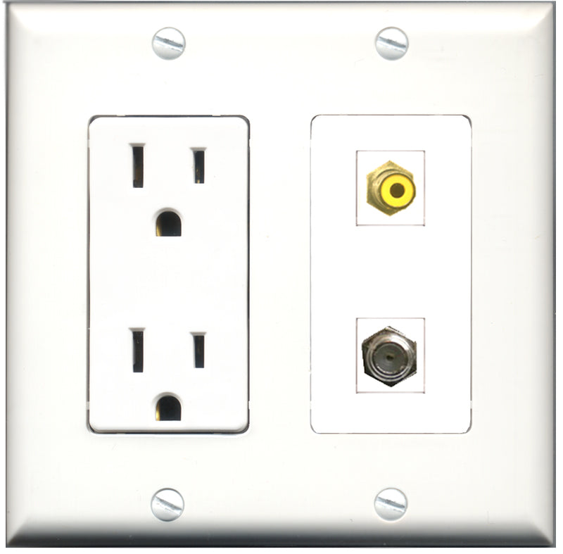 Wallplate City - 15 Amp Power Outlet 1 Port RCA Yellow 1 Port Coax Decorative Wall Plate