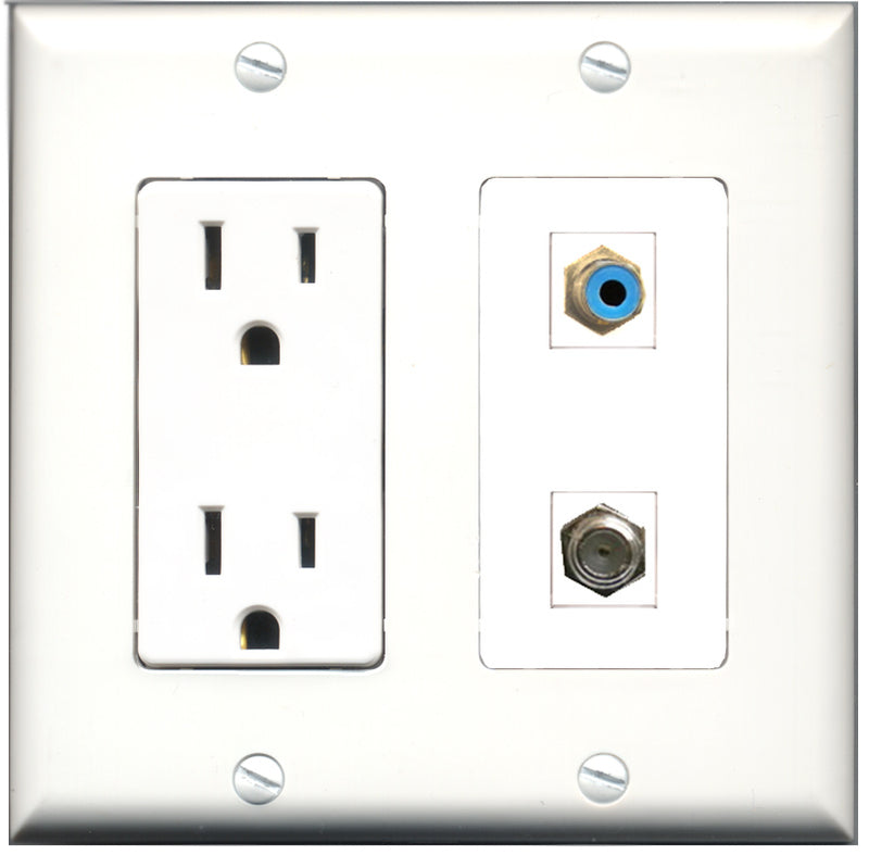 Wallplate City - 15 Amp Power Outlet 1 Port RCA Blue 1 Port Coax Decorative Wall Plate