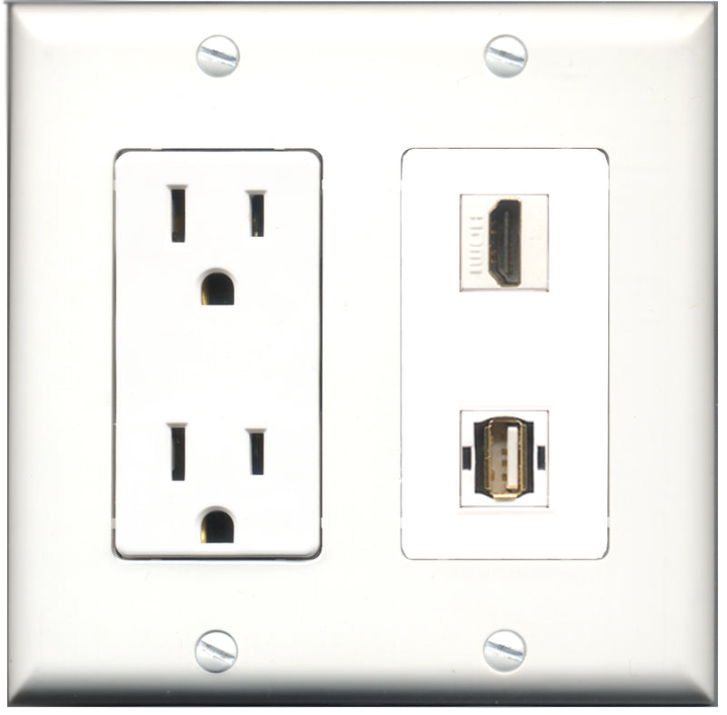 Wallplate City - 15 Amp Power Outlet 1 Port HDMI 1 Port USB A-A Decorative Wall Plate