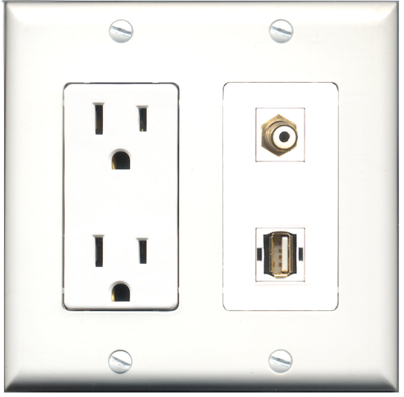 Wallplate City - 15 Amp Power Outlet 1 Port RCA White 1 Port USB A-A Decorative Wall Plate