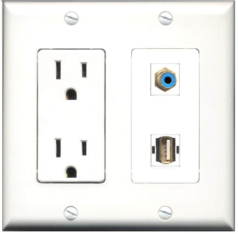 Wallplate City - 15 Amp Power Outlet 1 Port RCA Blue 1 Port USB A-A Decorative Wall Plate
