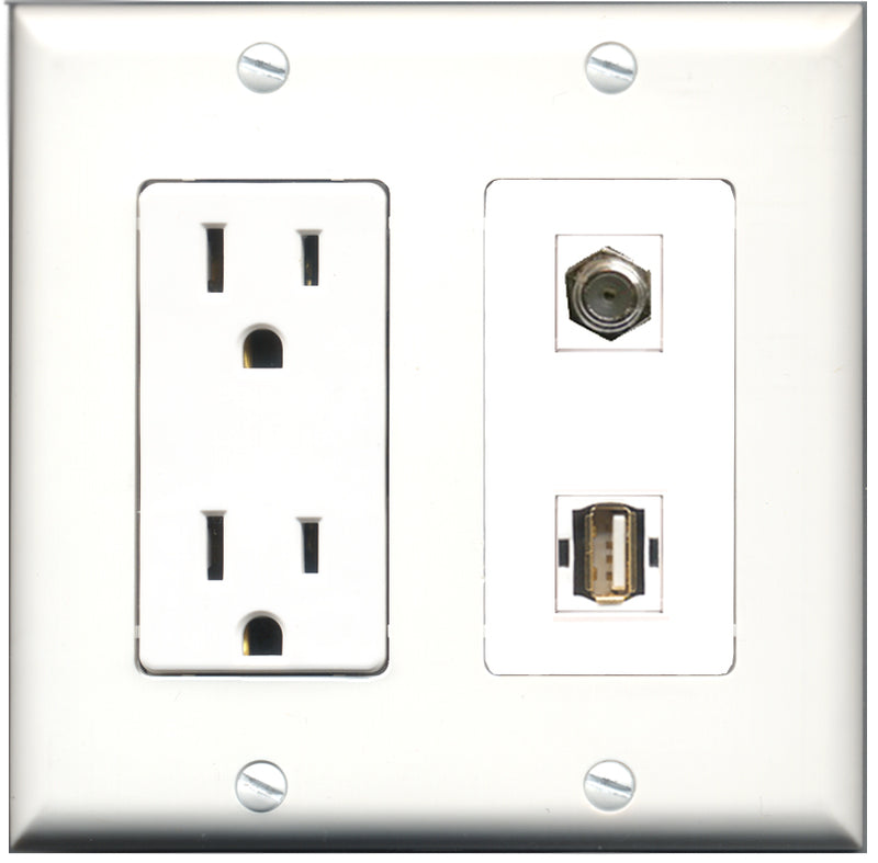 Wallplate City - 15 Amp Power Outlet 1 Port Coax 1 Port USB A-A Decorative Wall Plate