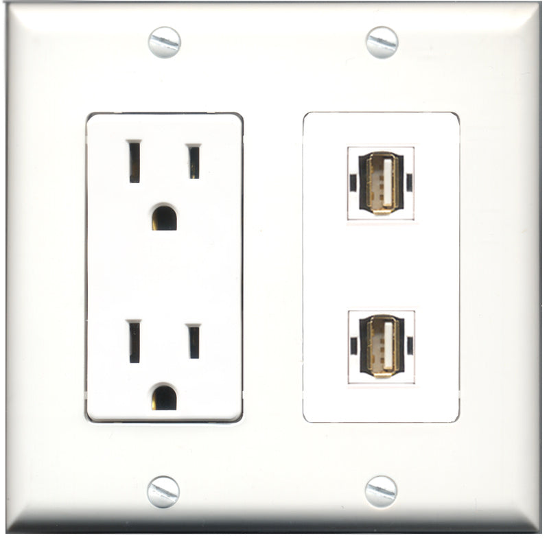 Wallplate City - 15 Amp Power Outlet 2 Port USB A-A Decorative Wall Plate