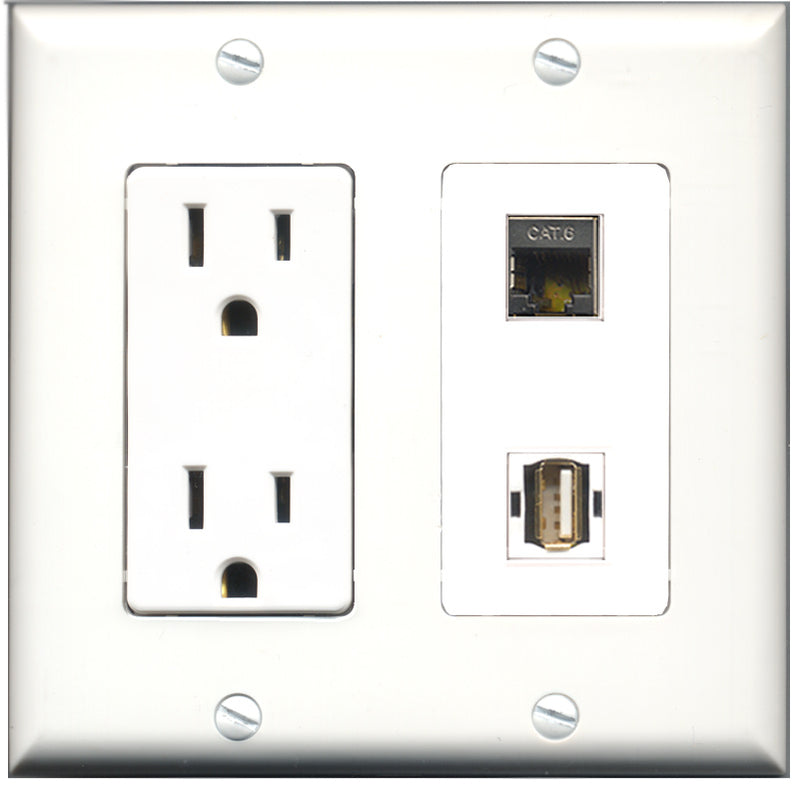 Wallplate City - 15 Amp Power Outlet 1 Port USB A-A 1 Port Shielded Cat6 Decorative Wall Plate