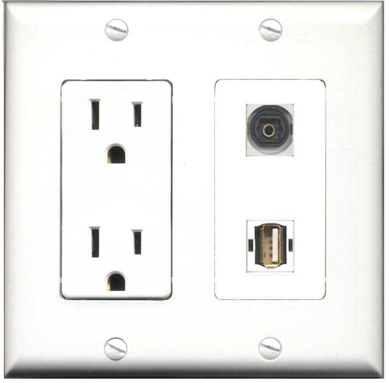 Wallplate City - 15 Amp Power Outlet 1 Port USB A-A 1 Port Toslink Decorative Wall Plate