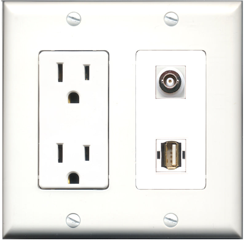 Wallplate City - 15 Amp Power Outlet 1 Port USB A-A 1 Port BNC Decorative Wall Plate