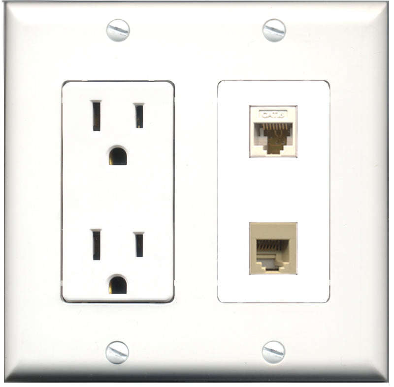 Wallplate City - 15 Amp Power Outlet 1 Port Phone RJ11 RJ12 Beige 1 Port Cat6 White Decorative Wall Plate