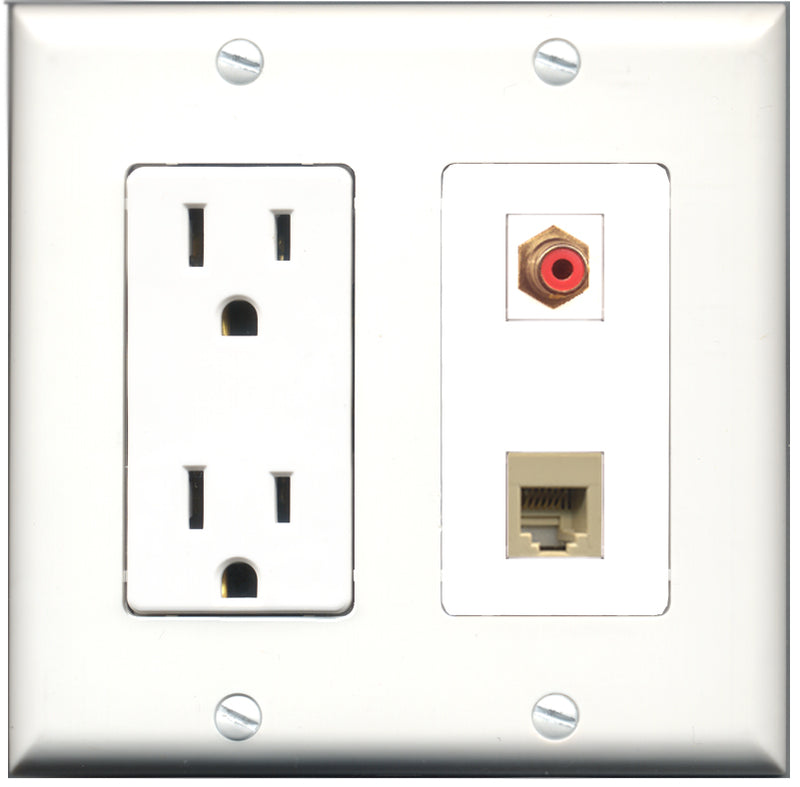 Wallplate City - 15 Amp Power Outlet 1 Port RCA Red 1 Port Phone RJ11 RJ12 Beige Decorative Wall Plate