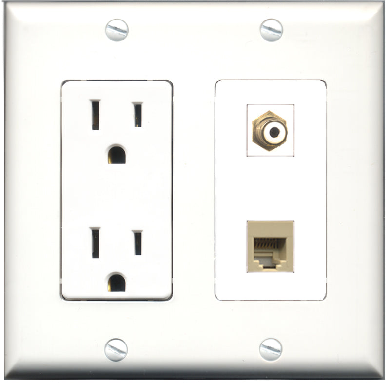 Wallplate City - 15 Amp Power Outlet 1 Port RCA White 1 Port Phone RJ11 RJ12 Beige Decorative Wall Plate
