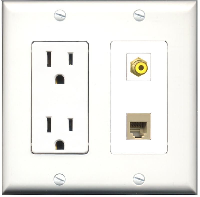 Wallplate City - 15 Amp Power Outlet 1 Port RCA Yellow 1 Port Phone RJ11 RJ12 Beige Decorative Wall Plate