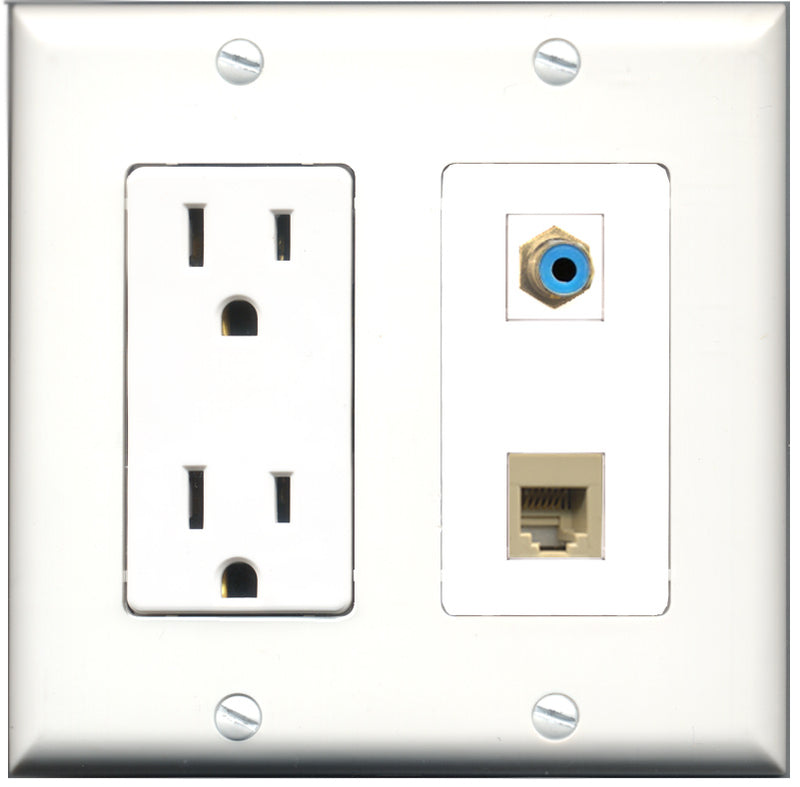 Wallplate City - 15 Amp Power Outlet 1 Port RCA Blue 1 Port Phone RJ11 RJ12 Beige Decorative Wall Plate