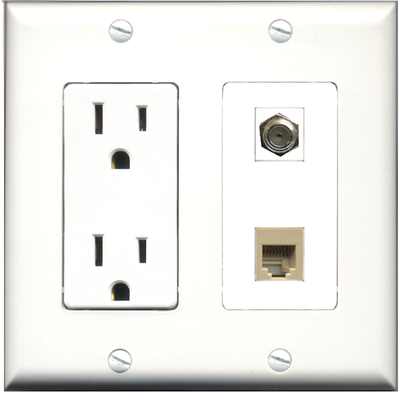 Wallplate City - 15 Amp Power Outlet 1 Port Coax 1 Port Phone RJ11 RJ12 Beige Decorative Wall Plate