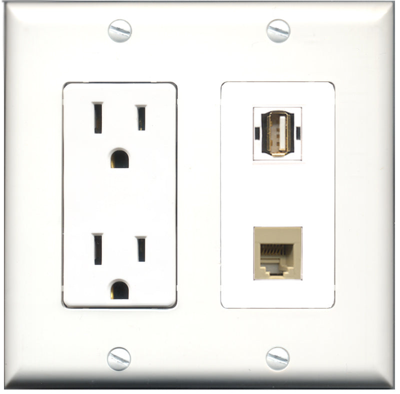 Wallplate City - 15 Amp Power Outlet 1 Port USB A-A 1 Port Phone RJ11 RJ12 Beige Decorative Wall Plate