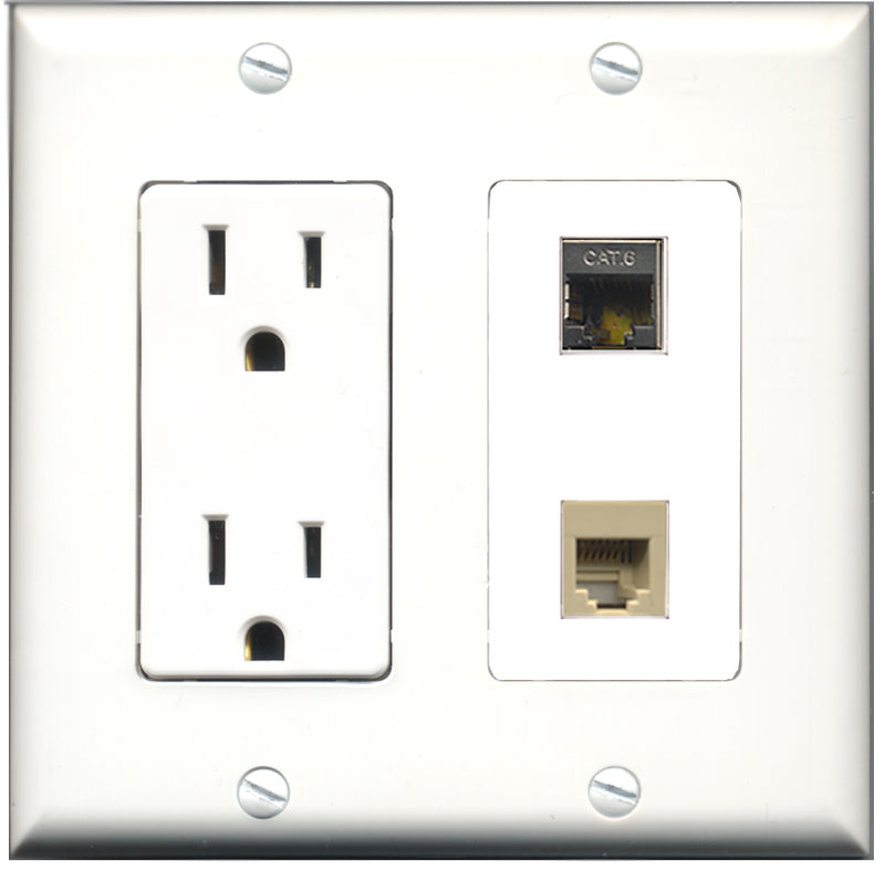 Wallplate City - 15 Amp Power Outlet 1 Port Phone RJ11 RJ12 Beige 1 Port Shielded Cat6 Decorative Wall Plate