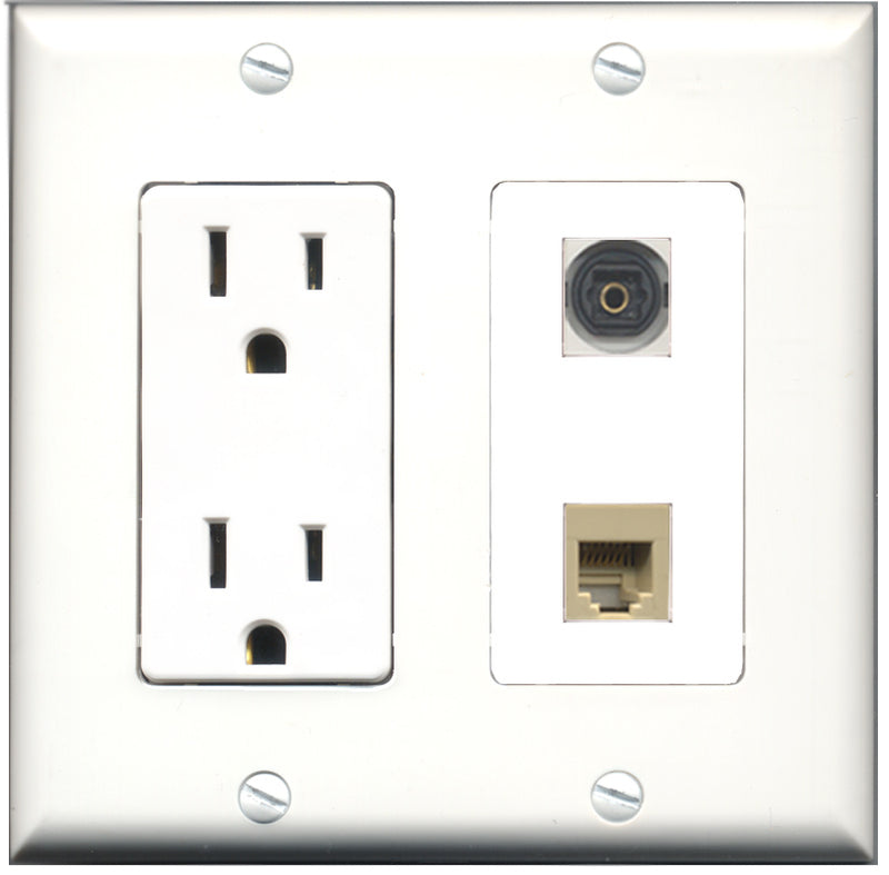 Wallplate City - 15 Amp Power Outlet 1 Port Phone RJ11 RJ12 Beige 1 Port Toslink Decorative Wall Plate