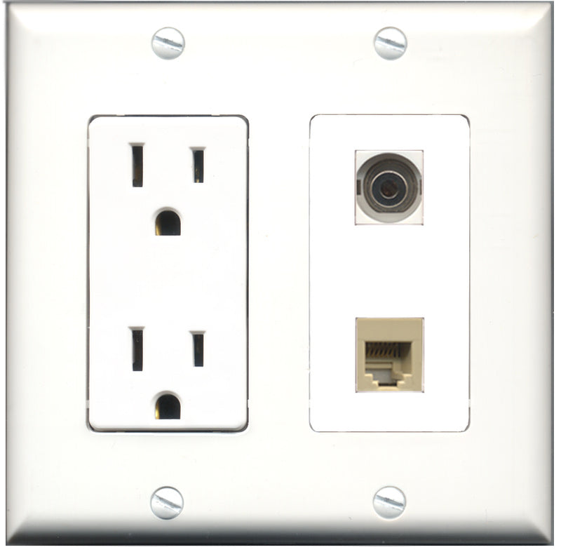 Wallplate City - 15 Amp Power Outlet 1 Port Phone RJ11 RJ12 Beige 1 Port 3.5mm Decorative Wall Plate