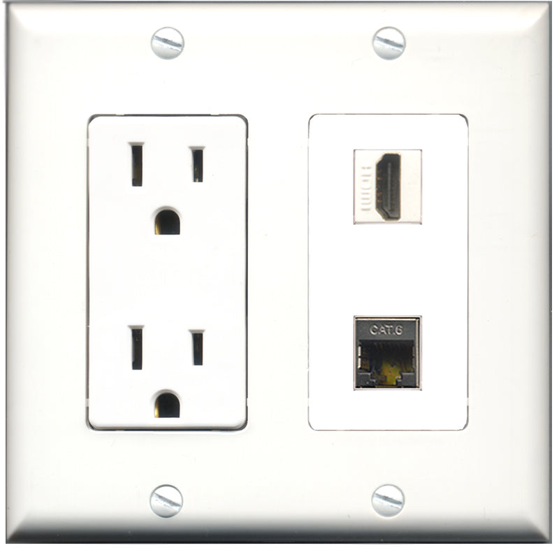 Wallplate City - 15 Amp Power Outlet 1 Port HDMI 1 Port Shielded Cat6 Decorative Wall Plate