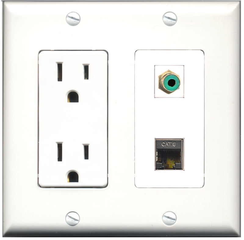 Wallplate City - 15 Amp Power Outlet 1 Port RCA Green 1 Port Shielded Cat6 Decorative Wall Plate