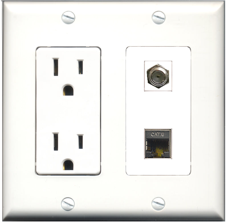 Wallplate City - 15 Amp Power Outlet 1 Port Coax 1 Port Shielded Cat6 Decorative Wall Plate
