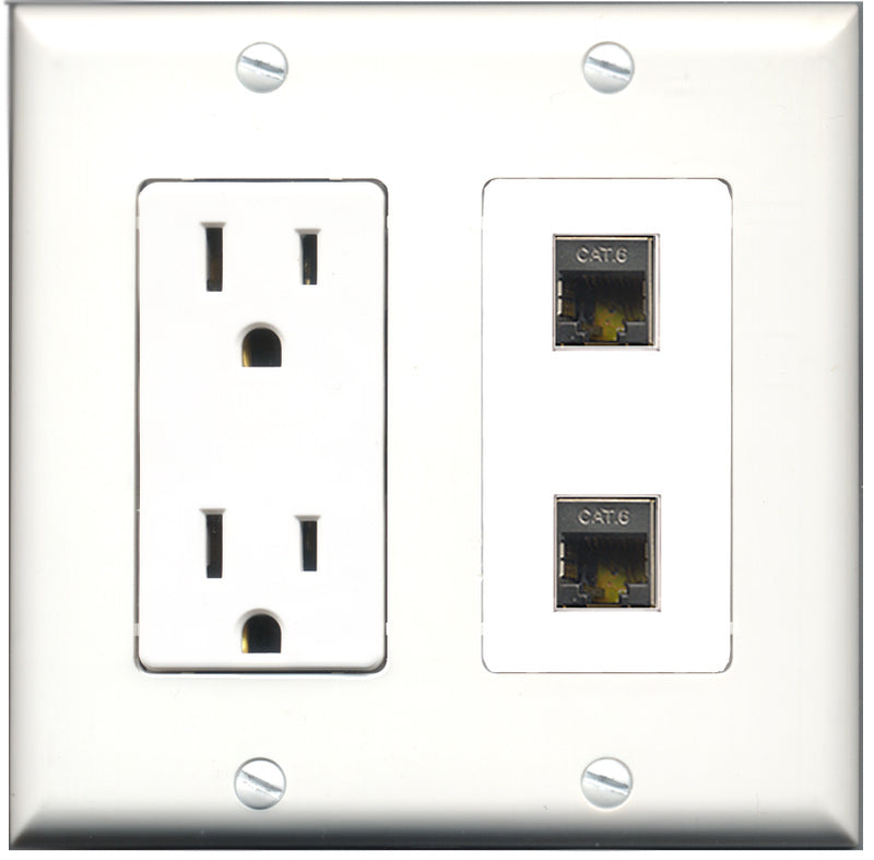 Wallplate City - 15 Amp Power Outlet 2 Port Shielded Cat6 Decorative Wall Plate
