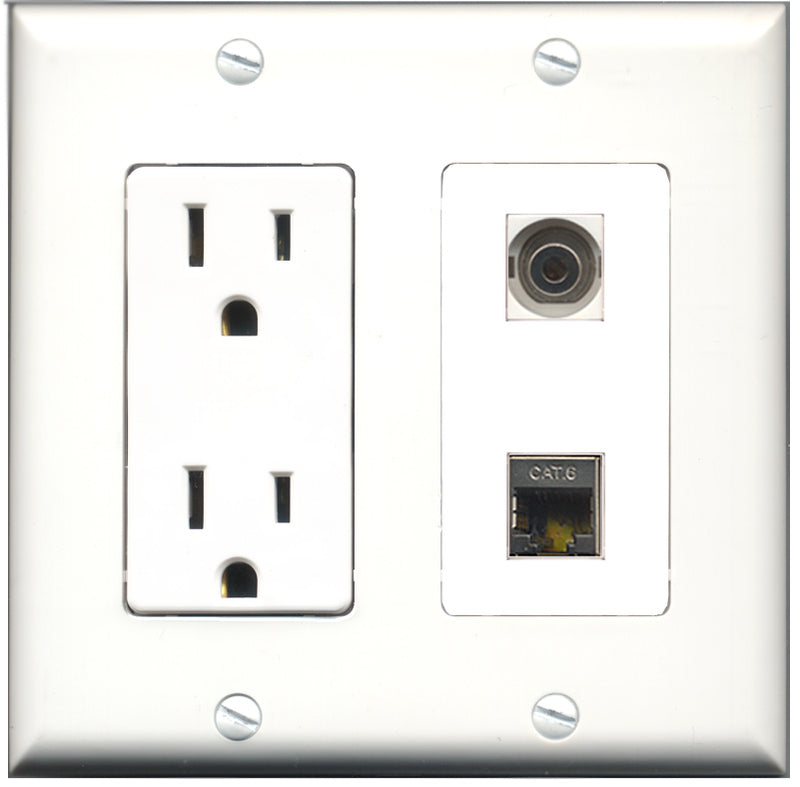 Wallplate City - 15 Amp Power Outlet 1 Port Shielded Cat6 1 Port 3.5mm Decorative Wall Plate