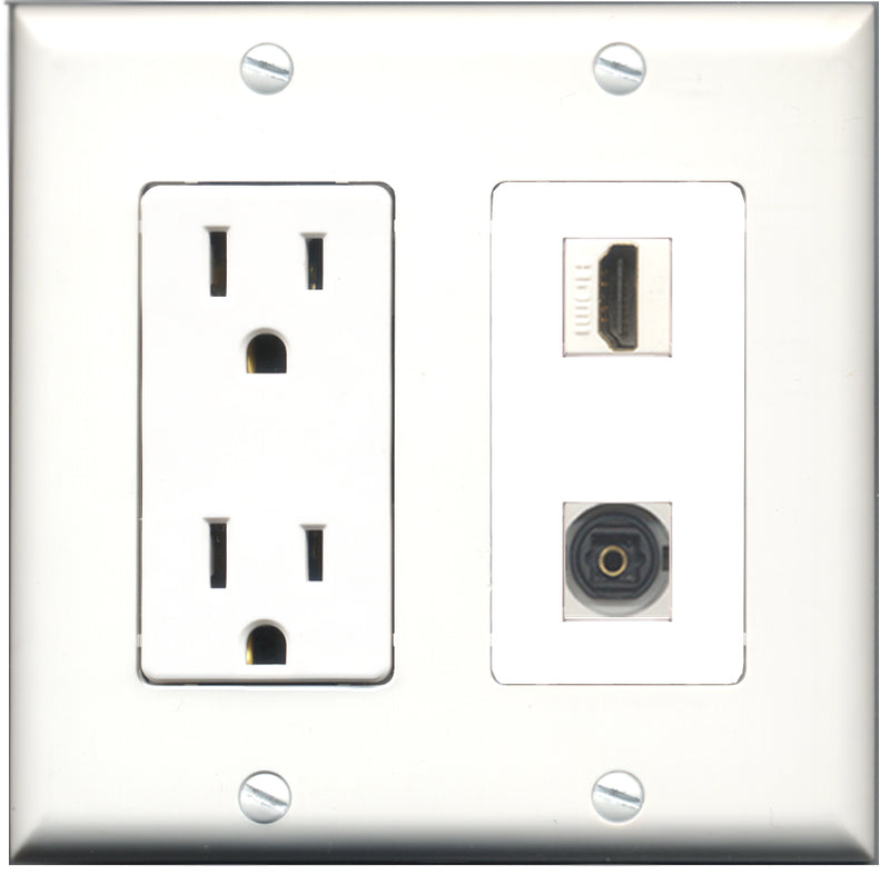 Wallplate City - 15 Amp Power Outlet 1 Port HDMI 1 Port Toslink Decorative Wall Plate