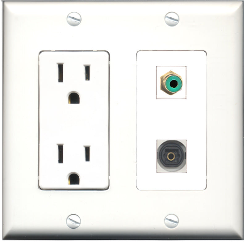 Wallplate City - 15 Amp Power Outlet 1 Port RCA Green 1 Port Toslink Decorative Wall Plate