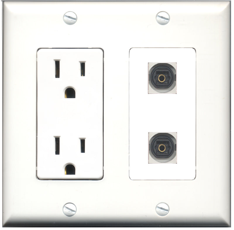 Wallplate City - 15 Amp Power Outlet 2 Port Toslink Decorative Wall Plate