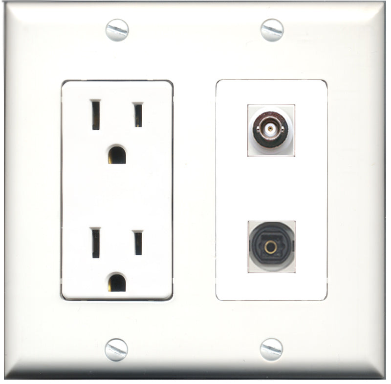 Wallplate City - 15 Amp Power Outlet 1 Port Toslink 1 Port BNC Decorative Wall Plate