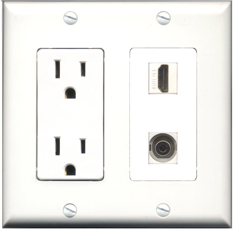 Wallplate City - 15 Amp Power Outlet 1 Port HDMI 1 Port 3.5mm Decorative Wall Plate
