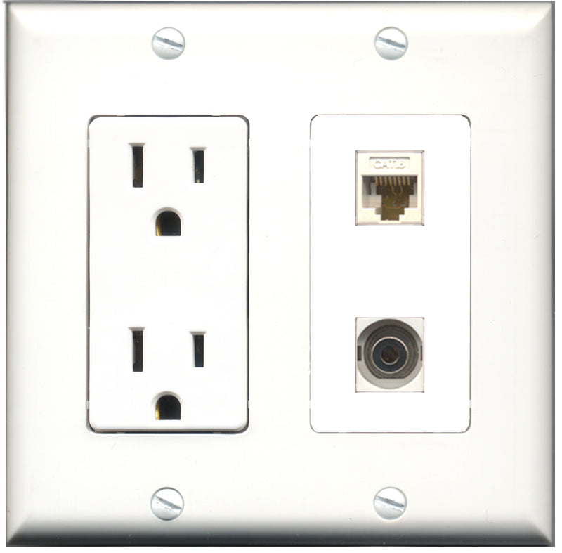 Wallplate City - 15 Amp Power Outlet 1 Port 3.5mm 1 Port Cat6 White Decorative Wall Plate