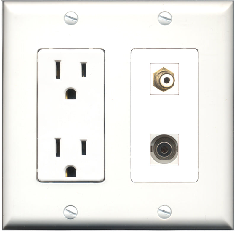 Wallplate City - 15 Amp Power Outlet 1 Port RCA White 1 Port 3.5mm Decorative Wall Plate
