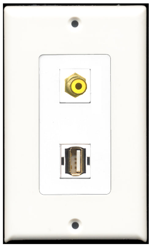 Wallplate City - 1 Port RCA Yellow 1 Port USB A-A Decora Type Female F/F Keystone Jack Wall Plate White