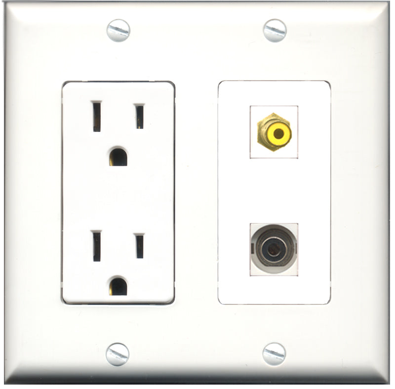 Wallplate City - 15 Amp Power Outlet 1 Port RCA Yellow 1 Port 3.5mm Decorative Wall Plate