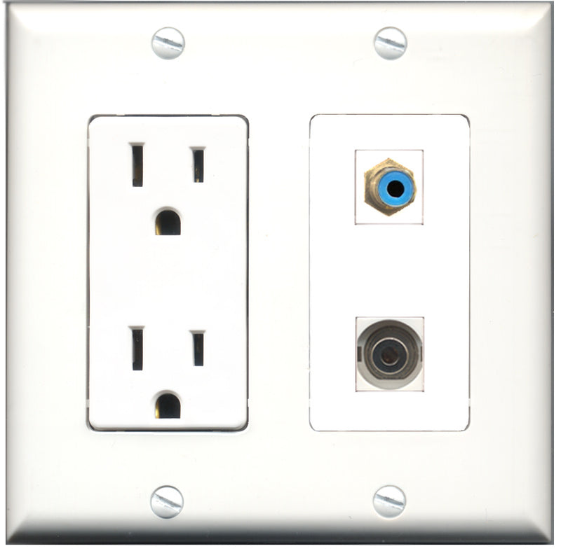 Wallplate City - 15 Amp Power Outlet 1 Port RCA Blue 1 Port 3.5mm Decorative Wall Plate