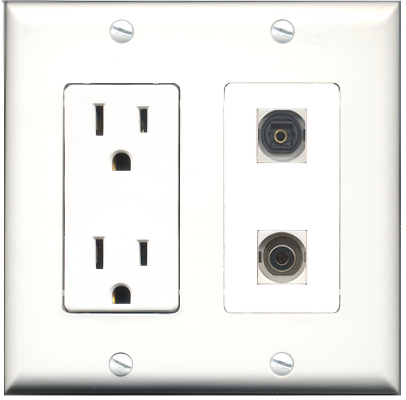 Wallplate City - 15 Amp Power Outlet 1 Port Toslink 1 Port 3.5mm Decorative Wall Plate