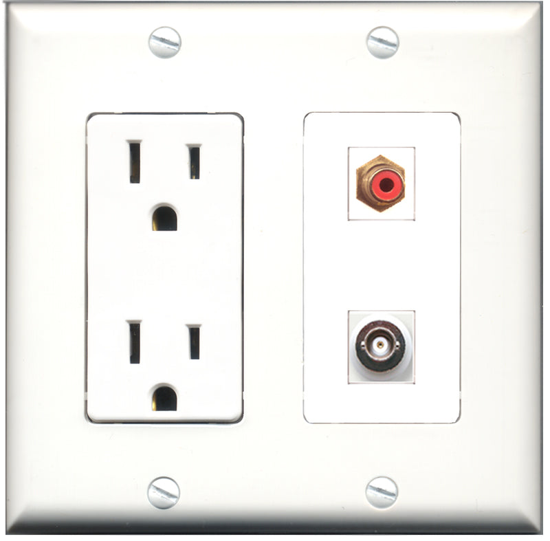 Wallplate City - 15 Amp Power Outlet 1 Port RCA Red 1 Port BNC Decorative Wall Plate