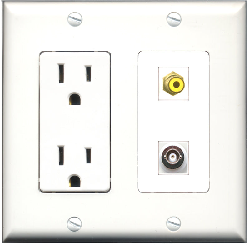 Wallplate City - 15 Amp Power Outlet 1 Port RCA Yellow 1 Port BNC Decorative Wall Plate