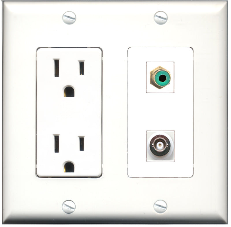 Wallplate City - 15 Amp Power Outlet 1 Port RCA Green 1 Port BNC Decorative Wall Plate