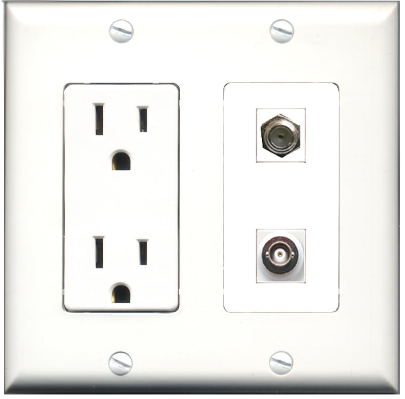 Wallplate City - 15 Amp Power Outlet 1 Port Coax 1 Port BNC Decorative Wall Plate