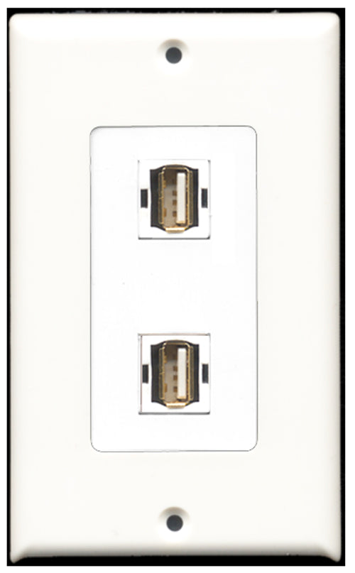 Wallplate City - 2 Port USB A-A Decora Type Female F/F Keystone Jack Wall Plate White