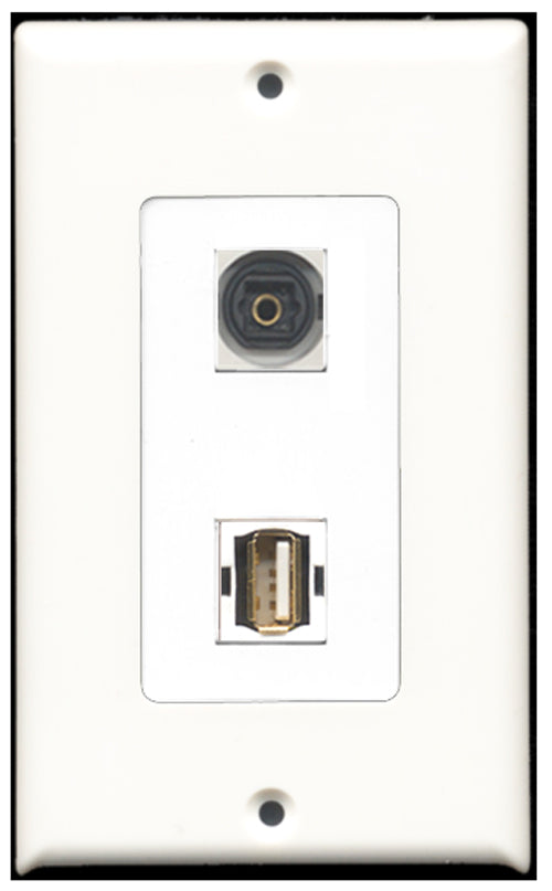Wallplate City - 1 Port USB A-A 1 Port Toslink SPDIF Decora Type Female F/F Keystone Jack Wall Plate White