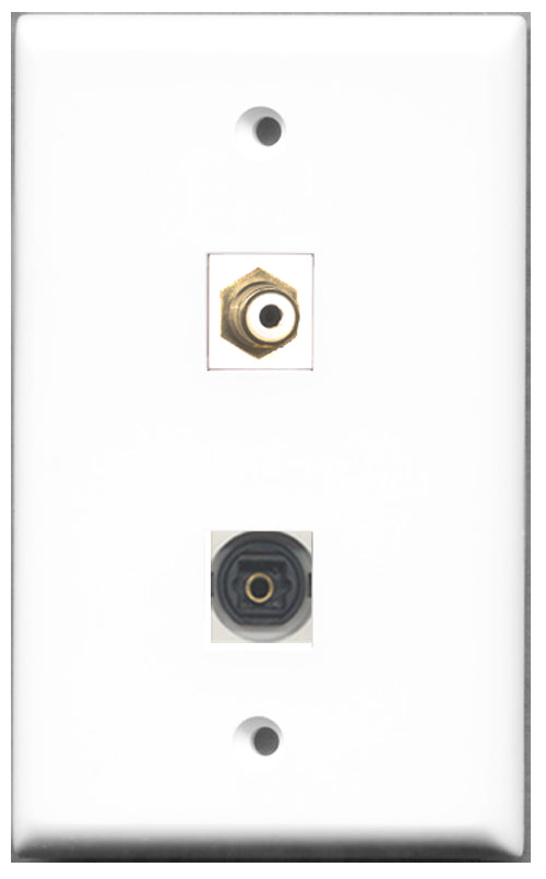Wallplate City - 1 Port RCA White 1 Port Toslink SPDIF Female F/F Keystone Jack Wall Plate White