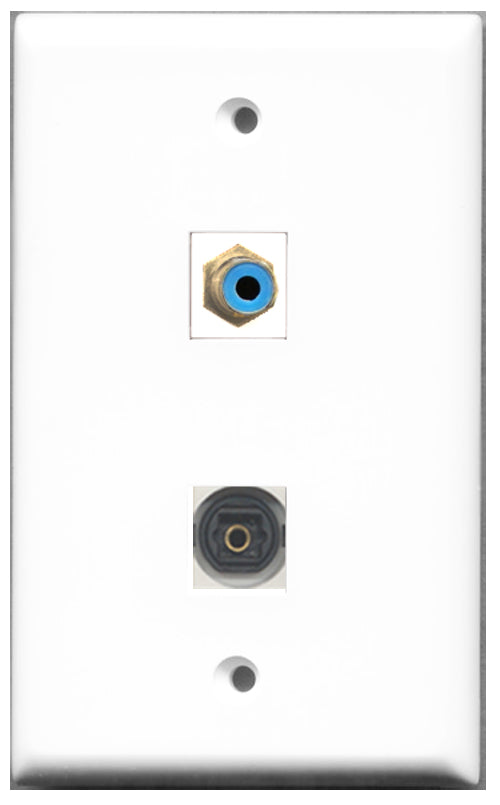 Wallplate City - 1 Port RCA Blue 1 Port Toslink SPDIF Female F/F Keystone Jack Wall Plate White