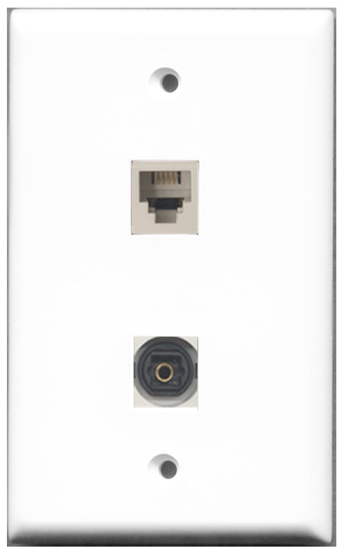 Wallplate City - 1 Port Phone RJ11 RJ12 White 1 Port Toslink SPDIF Female F/F Keystone Jack Wall Plate White