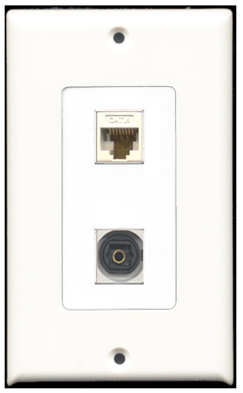 Wallplate City - 1 Port Toslink SPDIF 1 Port Cat6 Ethernet Decora Type Female F/F Keystone Jack Wall Plate White