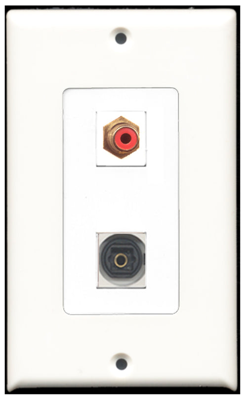 Wallplate City - 1 Port RCA Red 1 Port Toslink SPDIF Decora Type Female F/F Keystone Jack Wall Plate White