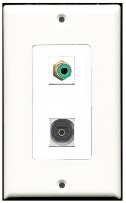 Wallplate City - 1 Port RCA Green 1 Port Toslink SPDIF Decora Type Female F/F Keystone Jack Wall Plate White