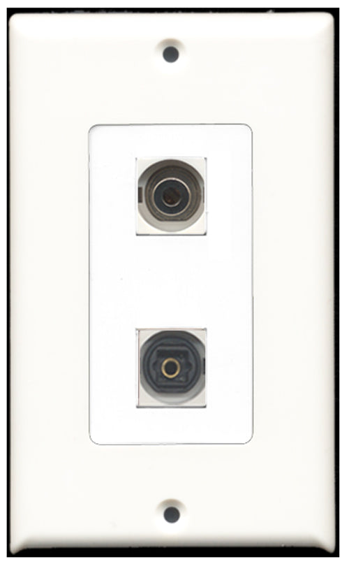 Wallplate City - 1 Port Toslink SPDIF 1 Port 3.5mm Decora Type Female F/F Keystone Jack Wall Plate White