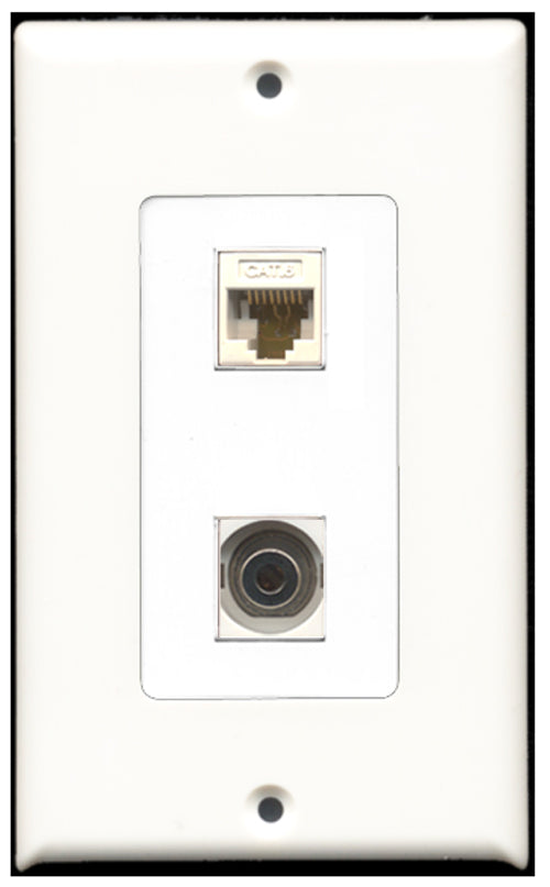 Wallplate City - 1 Port 3.5mm 1 Port Cat6 Ethernet Decora Type Female F/F Keystone Jack Wall Plate White